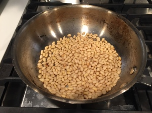 toast your pine nuts on the stove until warm.