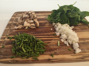 Mushrooms, Spinach, Asparagus, Onions