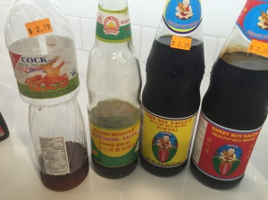 Fish Sauce, Golden Mountain Sauce, Thin Soy Sauce, Thick Sweet Soy sauce